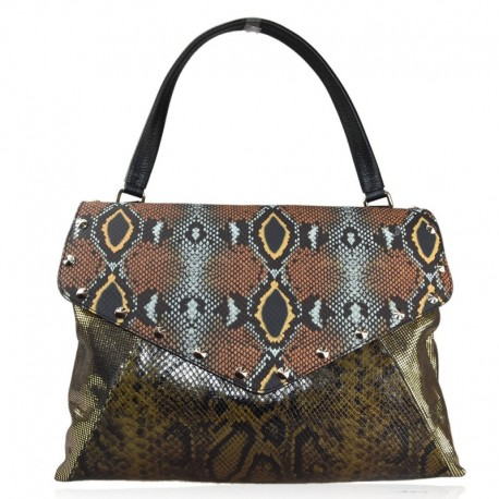 BORSA IN PELLE PATCHWORK PITONATO MADE IN ITALY MERCURY SM38842